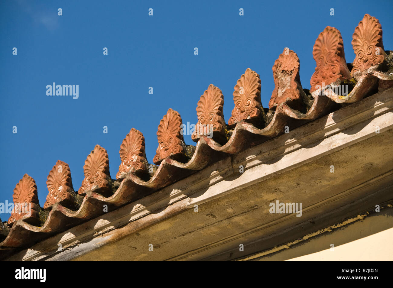 Terracotta Antefixes Or Antefixae On The Roofline Of A Neo