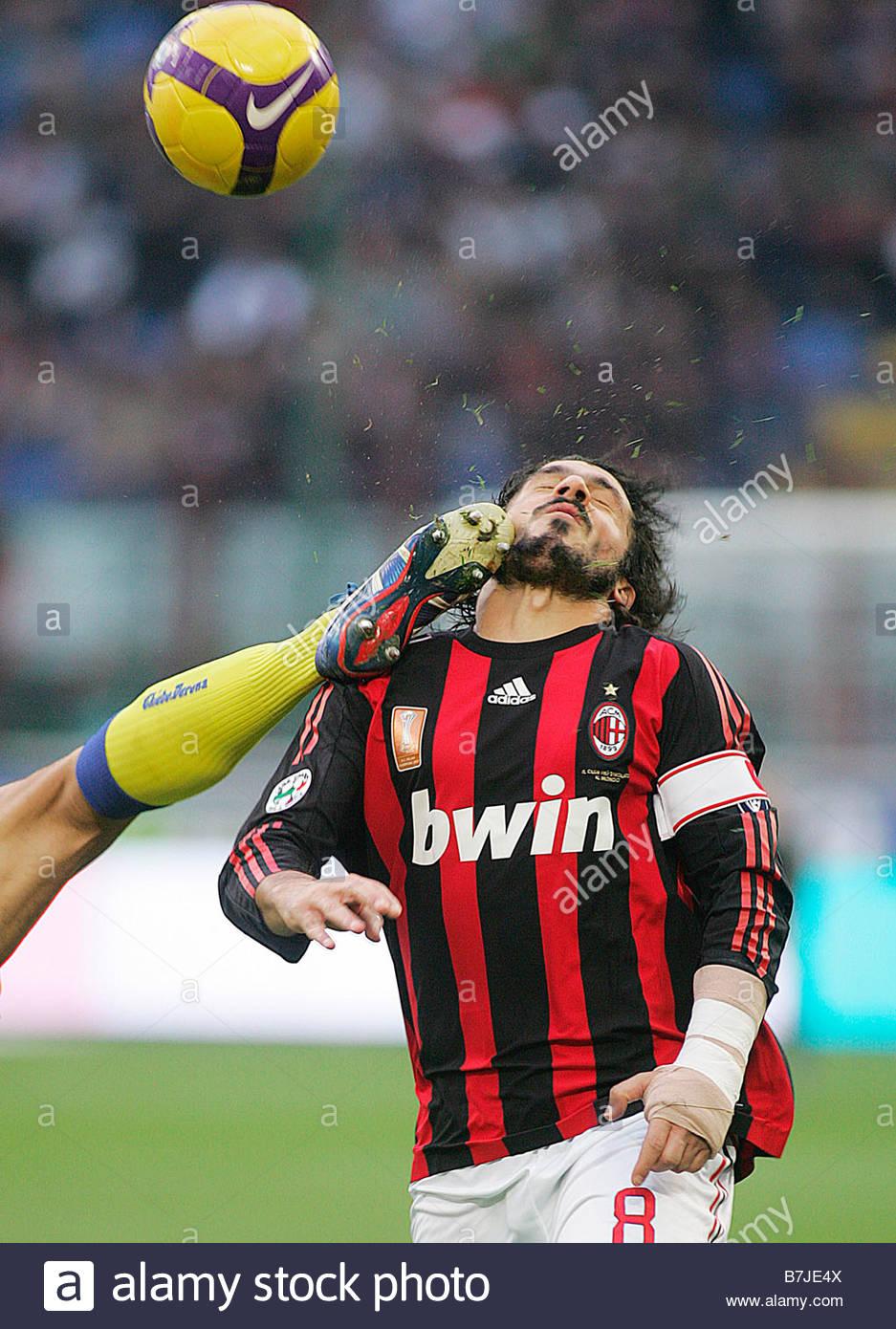 gennaro gattuso'milan 16-11-2008 'milan-chievo 1-0 'italian soccer championship 2008-2009, serie a'milan-chievo - Stock Image