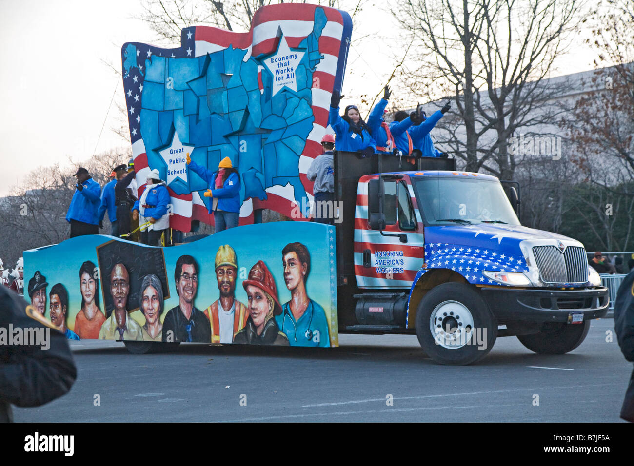 Labor Float in Obama Inaugural Parade - Stock Image