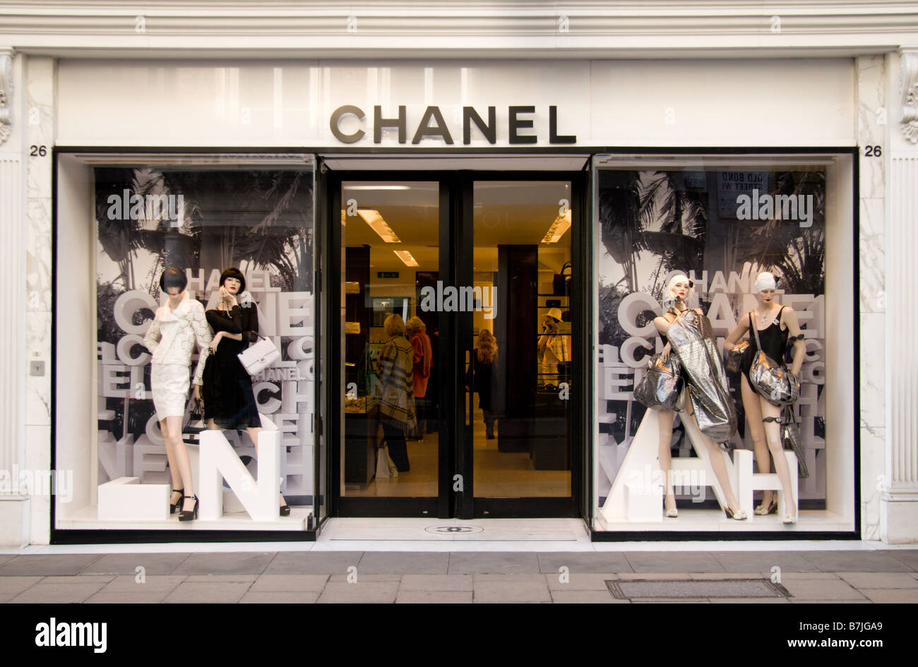 The shop front of the Chanel perfume & fragrance shop on Old Bond Street, London. Jan 2009 - Stock Image