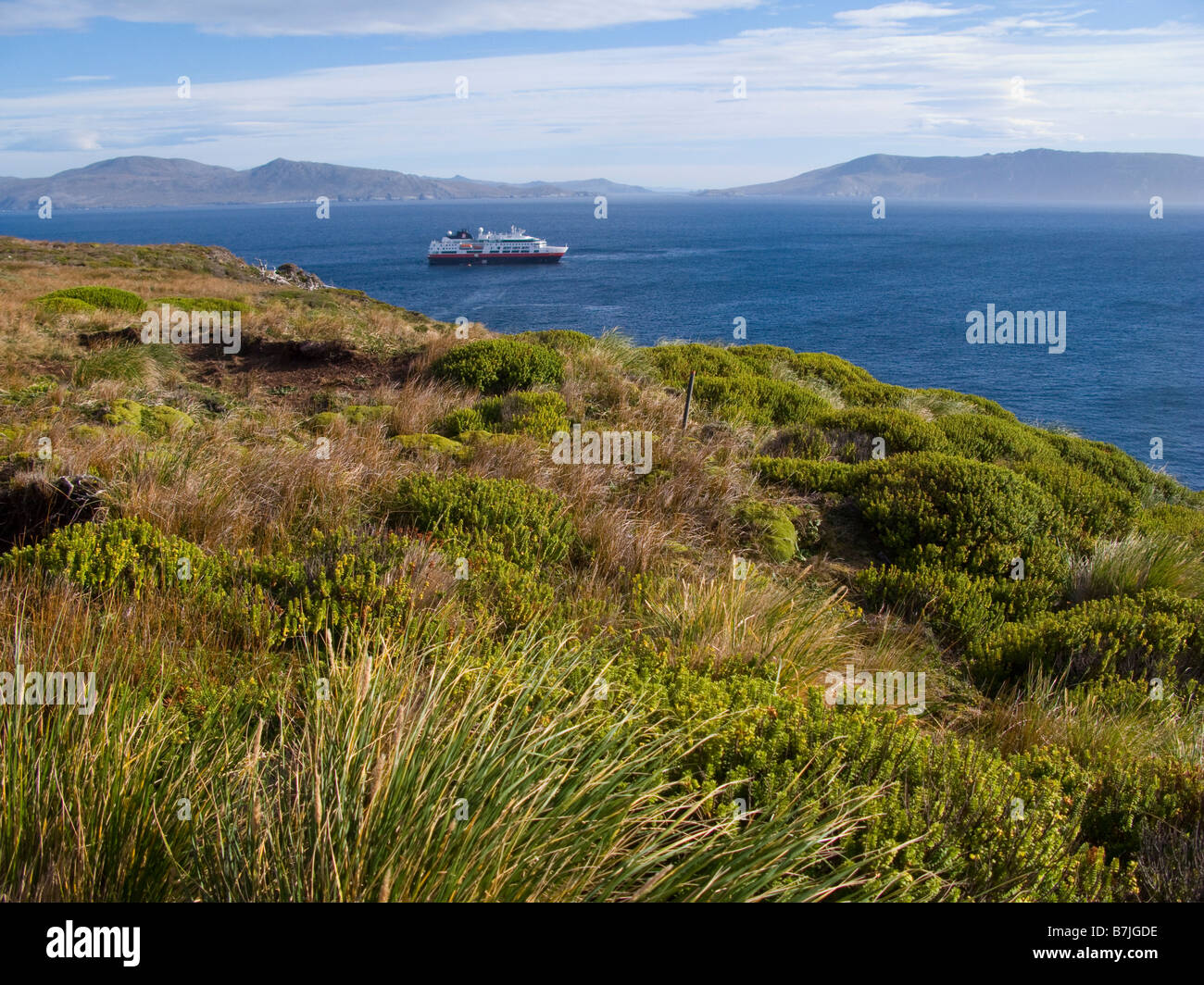 Tourist boat seen from Cape Horn, Patagonia, Chile, South America - Stock Image