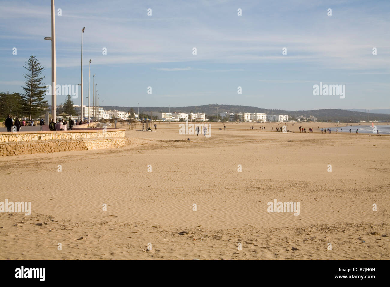 Essaouira Morocco North Africa December Looking across this popular seaside resort with visitors playing on the - Stock Image