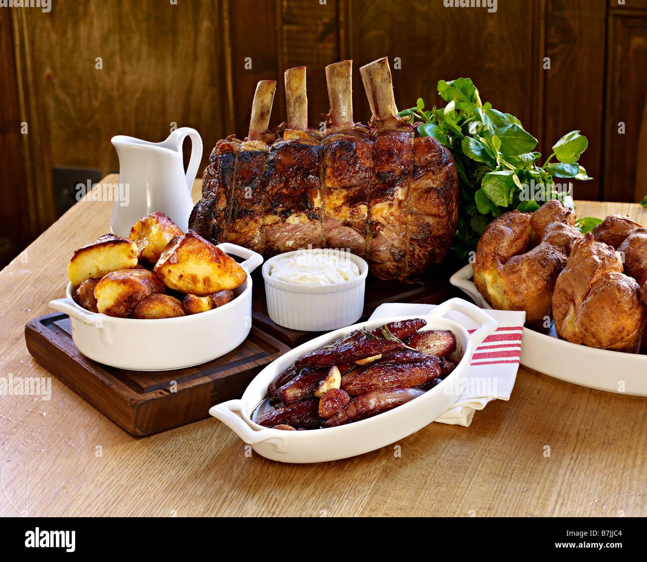 roast rib of beef sunday lunch - Stock Image