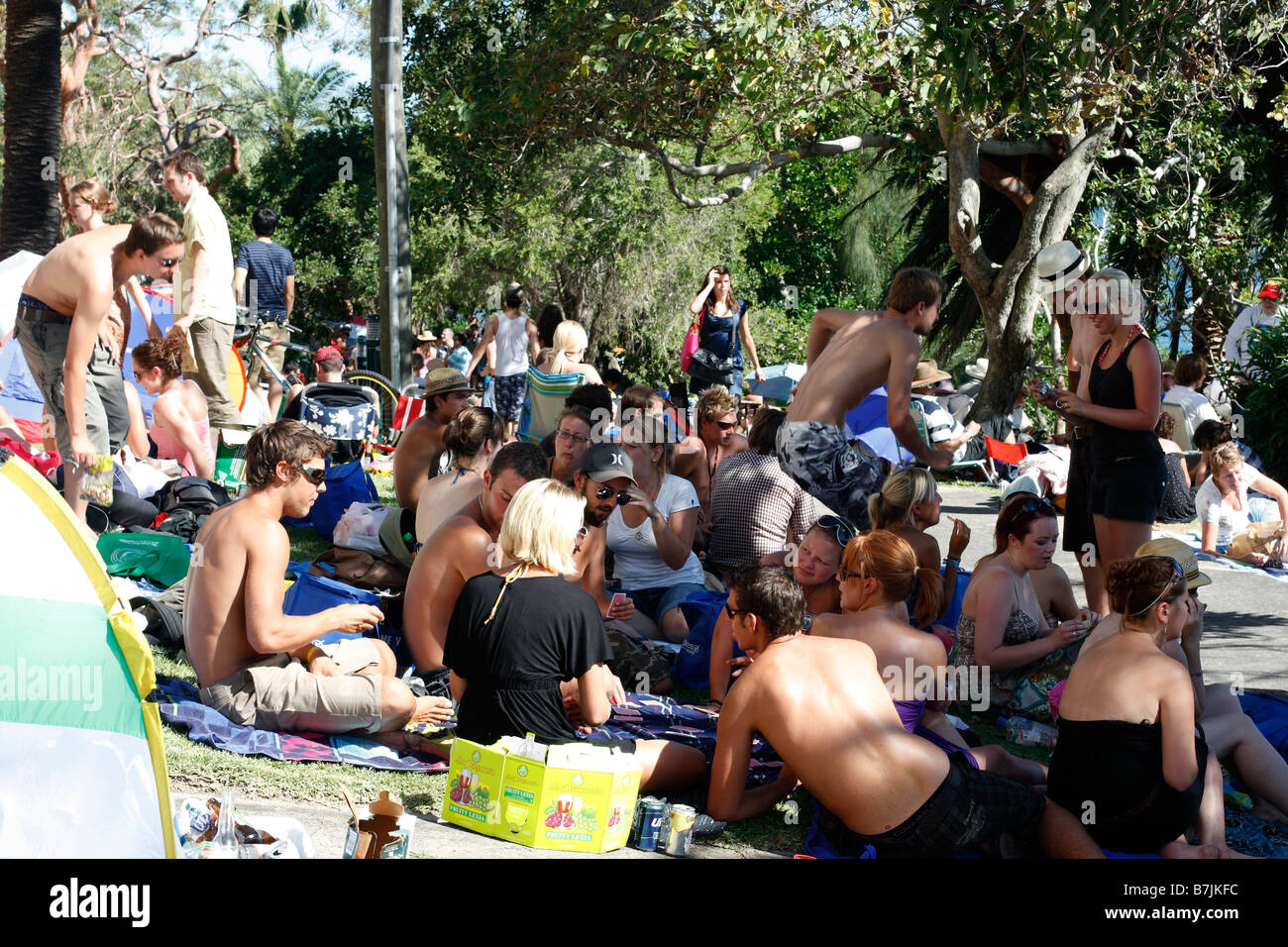 Part of the New Years Eve Crowd on the foreshores of Sydney Harbour - Stock Image