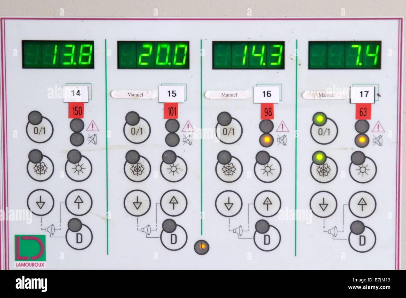 Control panel for temperature control chateau lestrille bordeaux france - Stock Image