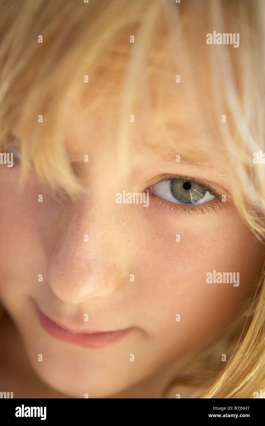 Portrait Of Shy Girl - Stock Image
