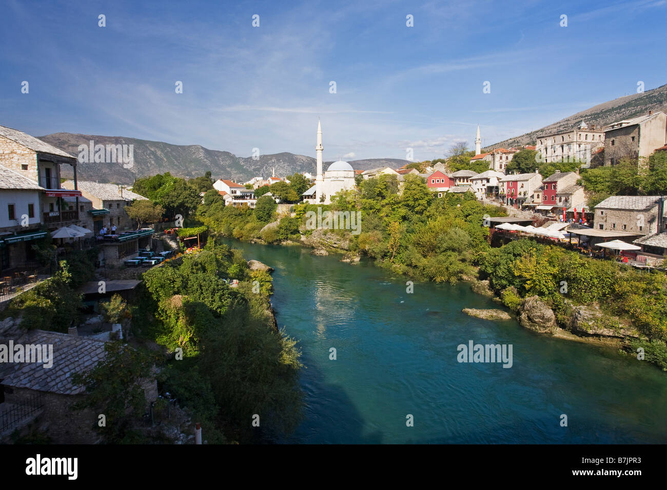 Historic Old Town of Mostar and Neretva River Unesco World Heritage Site in Bosnia Herzegovina Europe - Stock Image
