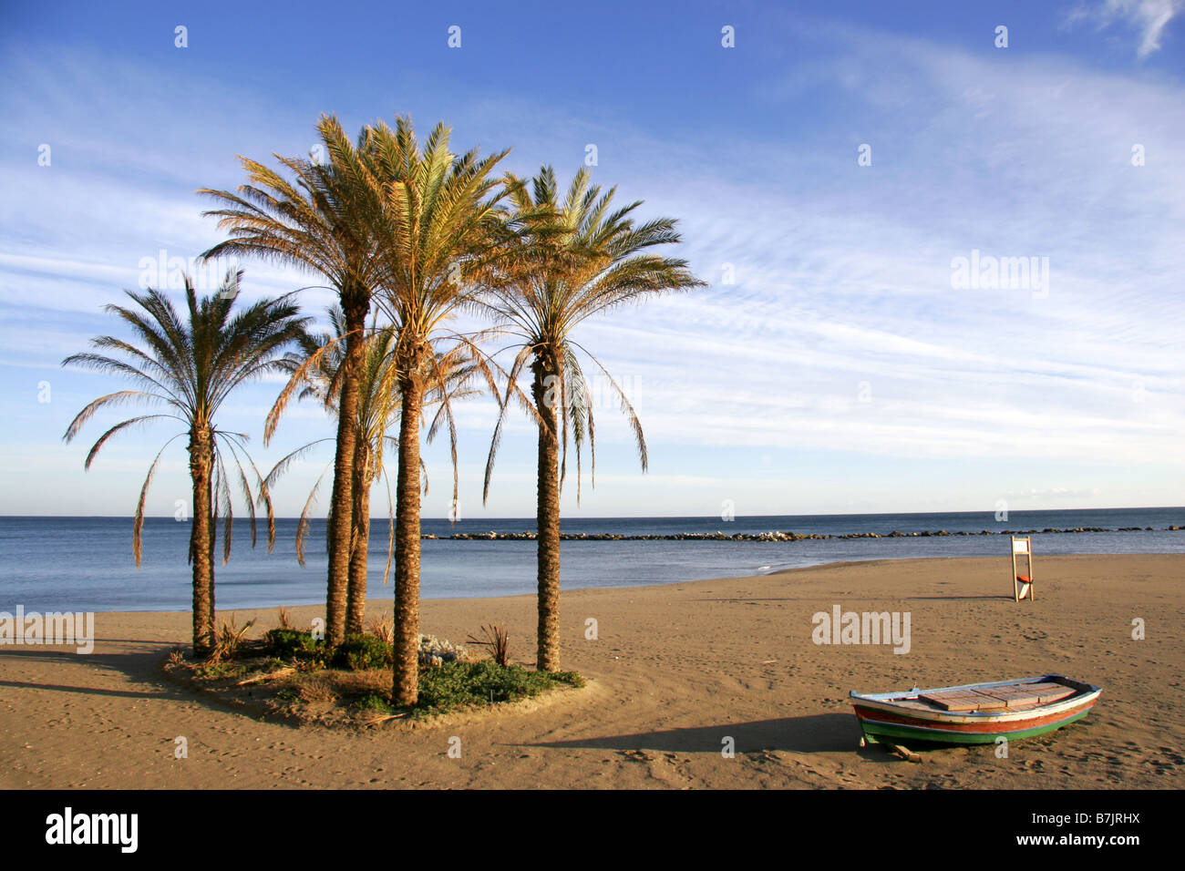Wooden boat and palm trees on the beach at Benalmadina Costa Del Sol Malaga Andalucia Spain - Stock Image