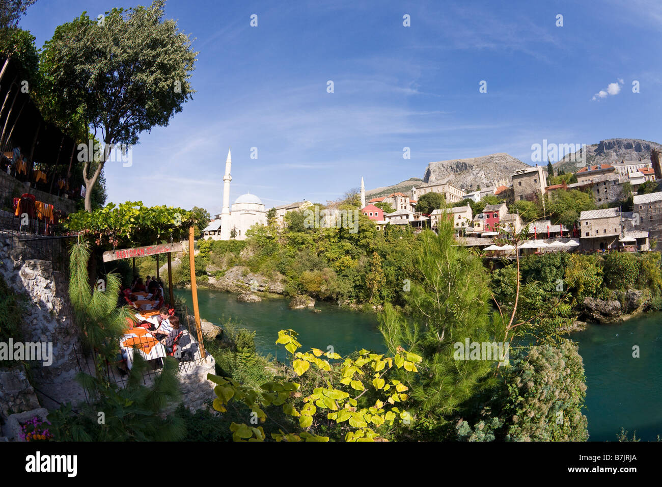 Historic Old Town of Mostar and the Neretva River in Bosnia Herzegovina Europe - Stock Image