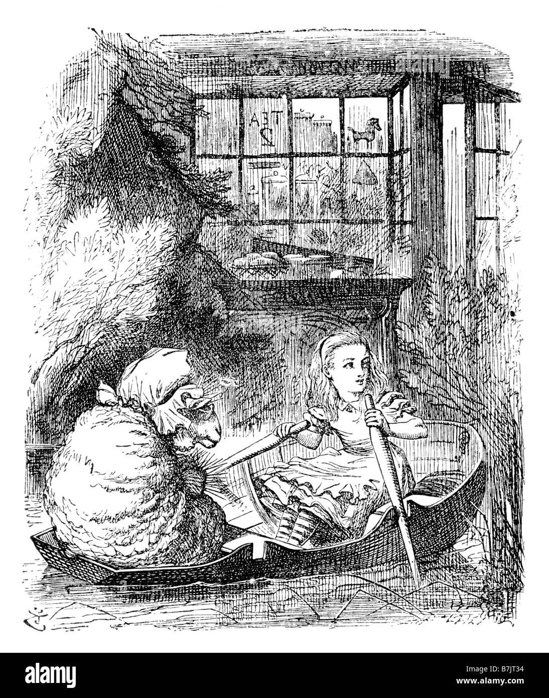 Alice in the Rowing Boat with the Sheep Alice Through the Looking Glass Illustration by Sir John Tenniel 1820 to - Stock Image