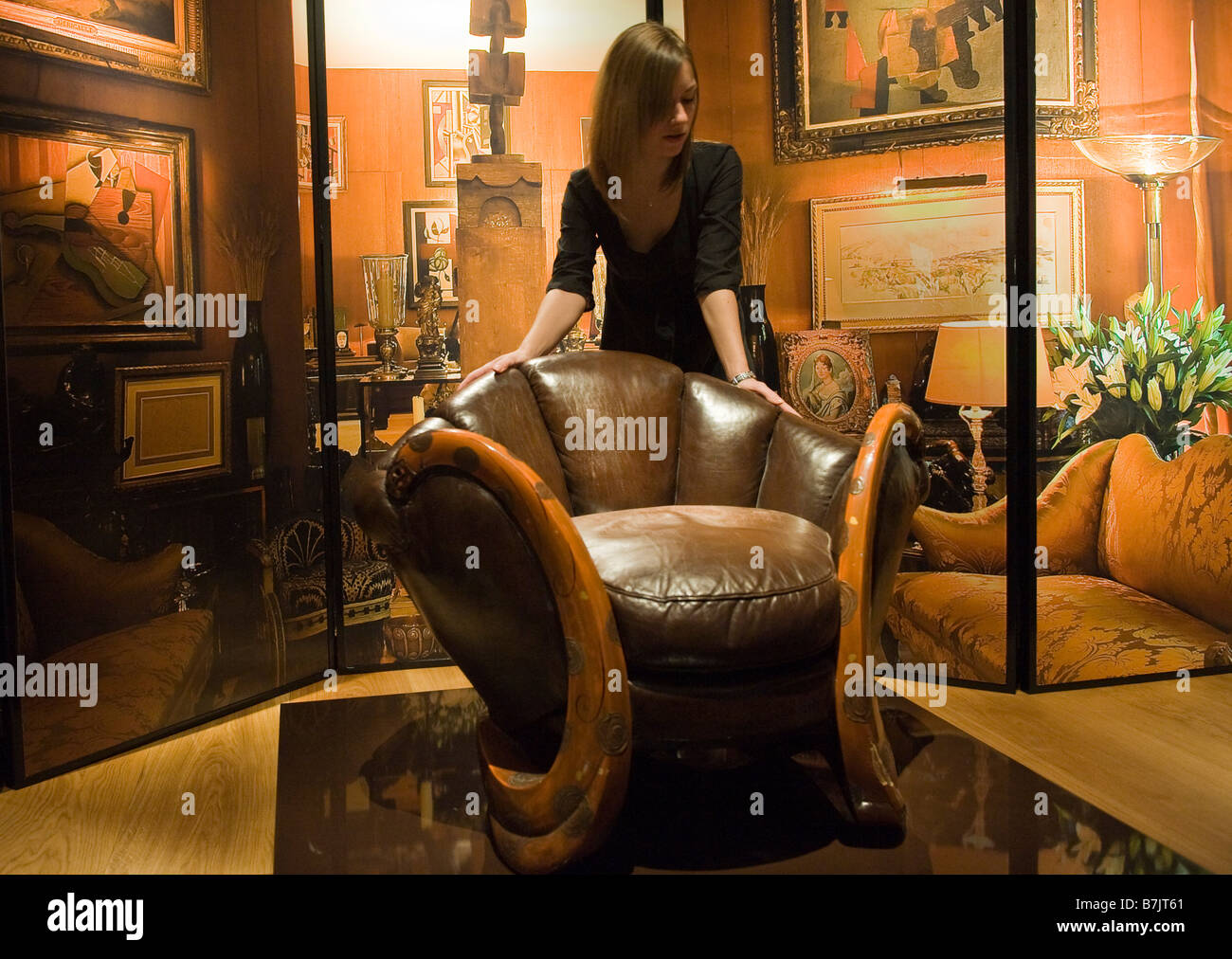 Eileen Gray 'The Dragons' armchair from the  Yves Saint Laurent and Pierre Berge' Collection  at Christie's - Stock Image