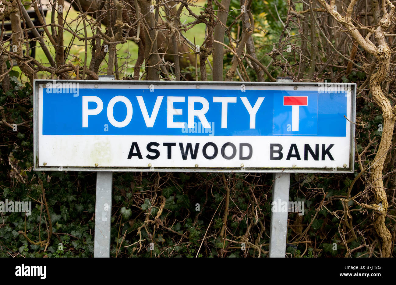 A road called Poverty in the Worcestershire village of Astwood Bank England UK - Stock Image