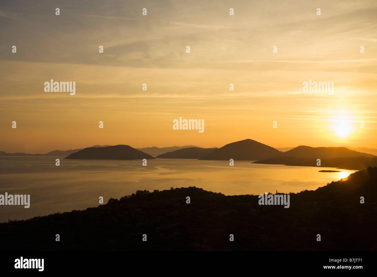 Sunset over the Dalmatian Coast near Dubrovnik Croatia Europe - Stock Image