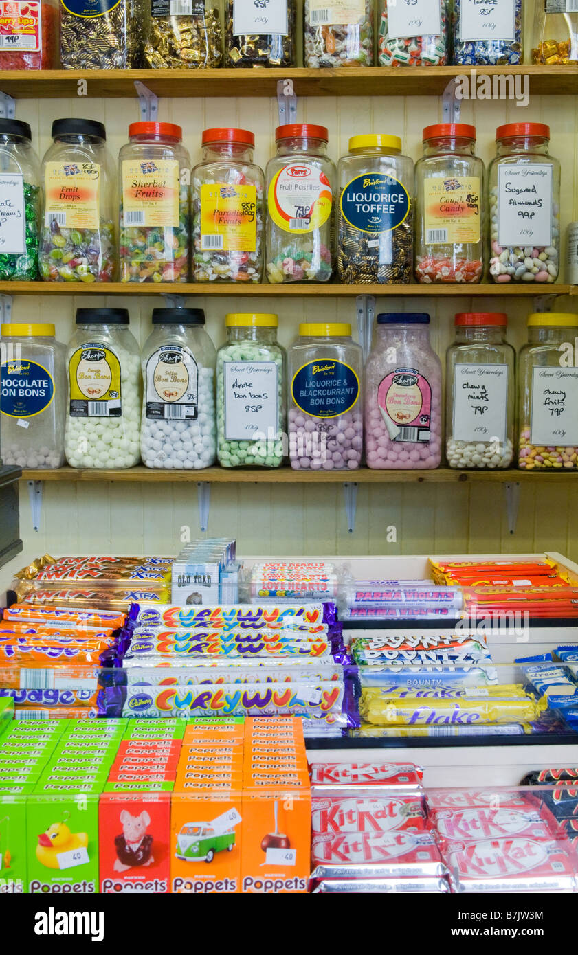 Various Jar Sweets And Chocolate Bars For Sale In An Old