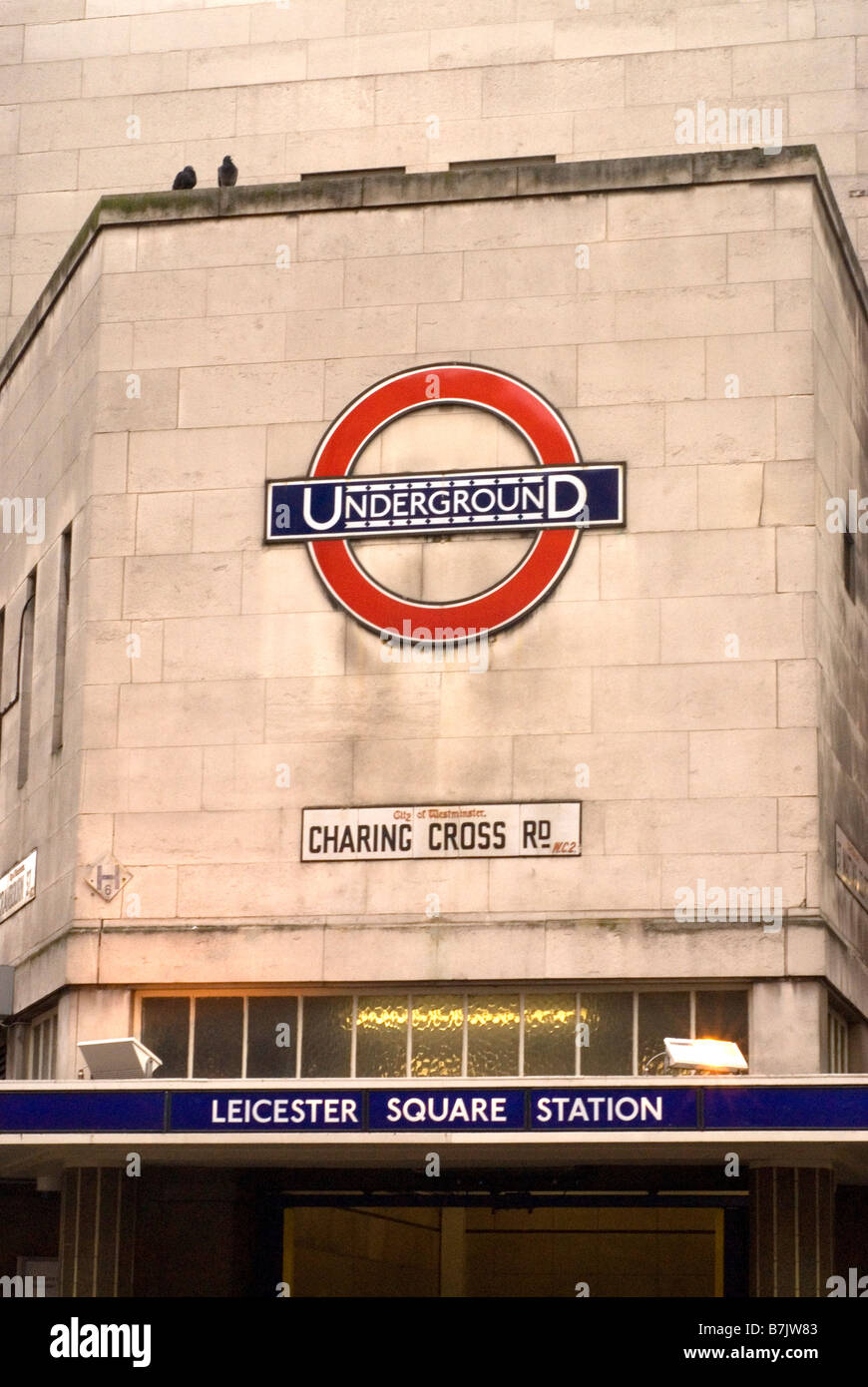 Leicester Square Tube Station, Charring Cross Road, London Underground - Stock Image