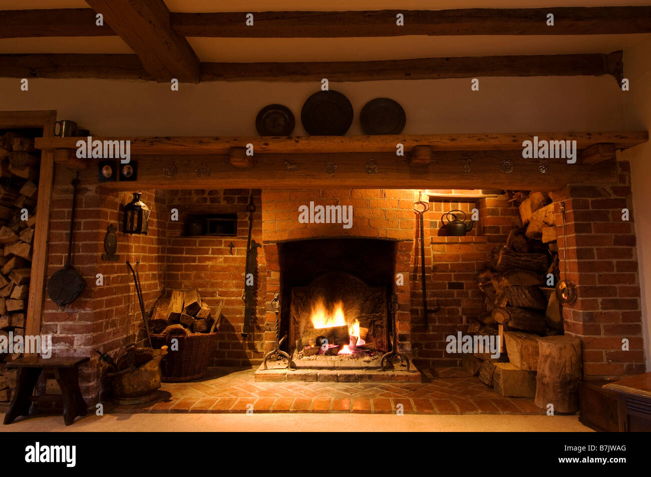 Inglenook Fireplace Stock Photo 21927992 Alamy