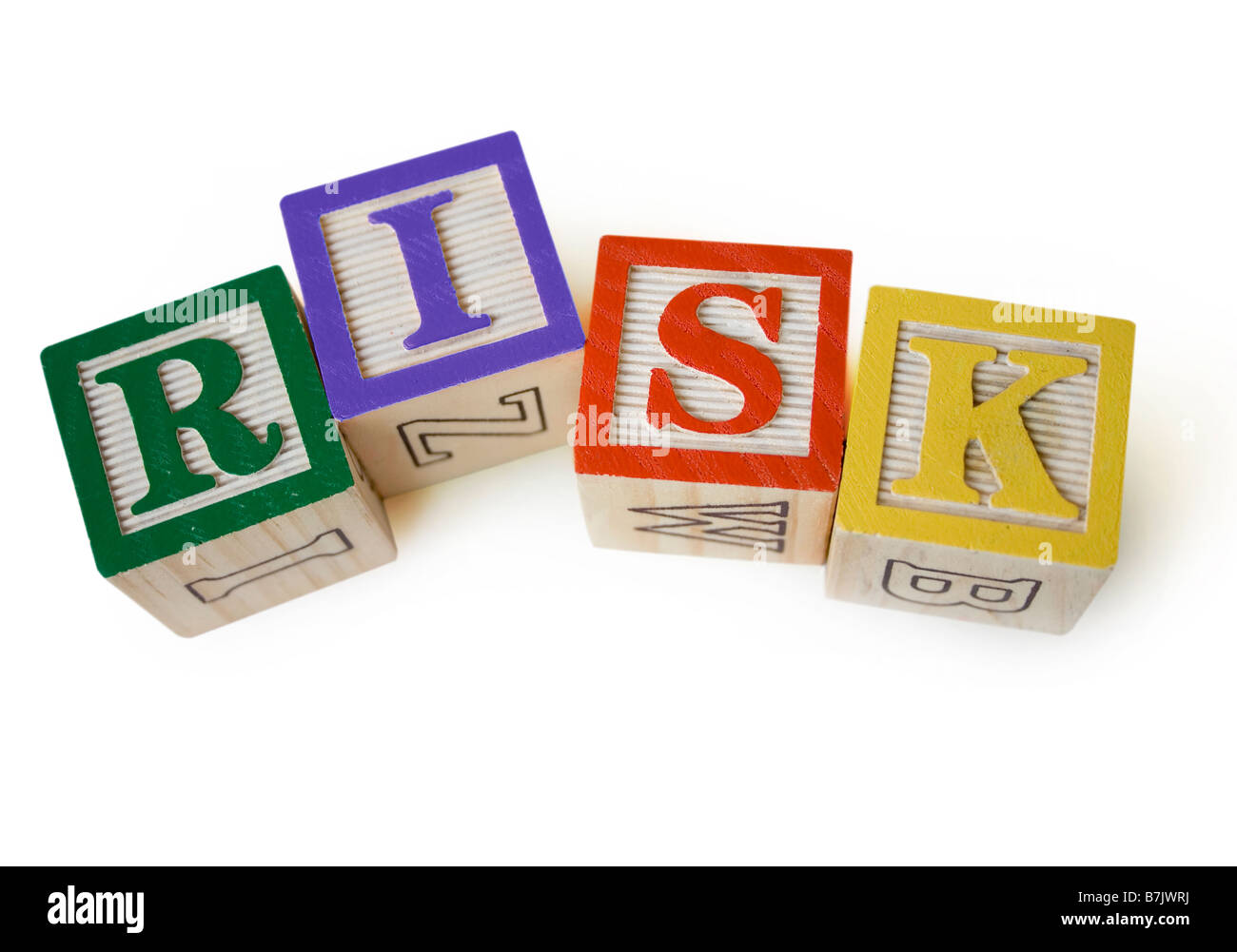 credit crunch financial crisis recession blocks word saying risk - Stock Image