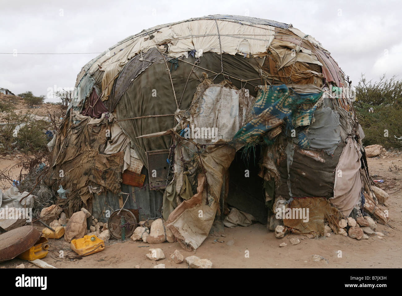 Traditional buule shelter, State House IDP camp, Hargeisa, Somaliland Stock Photo