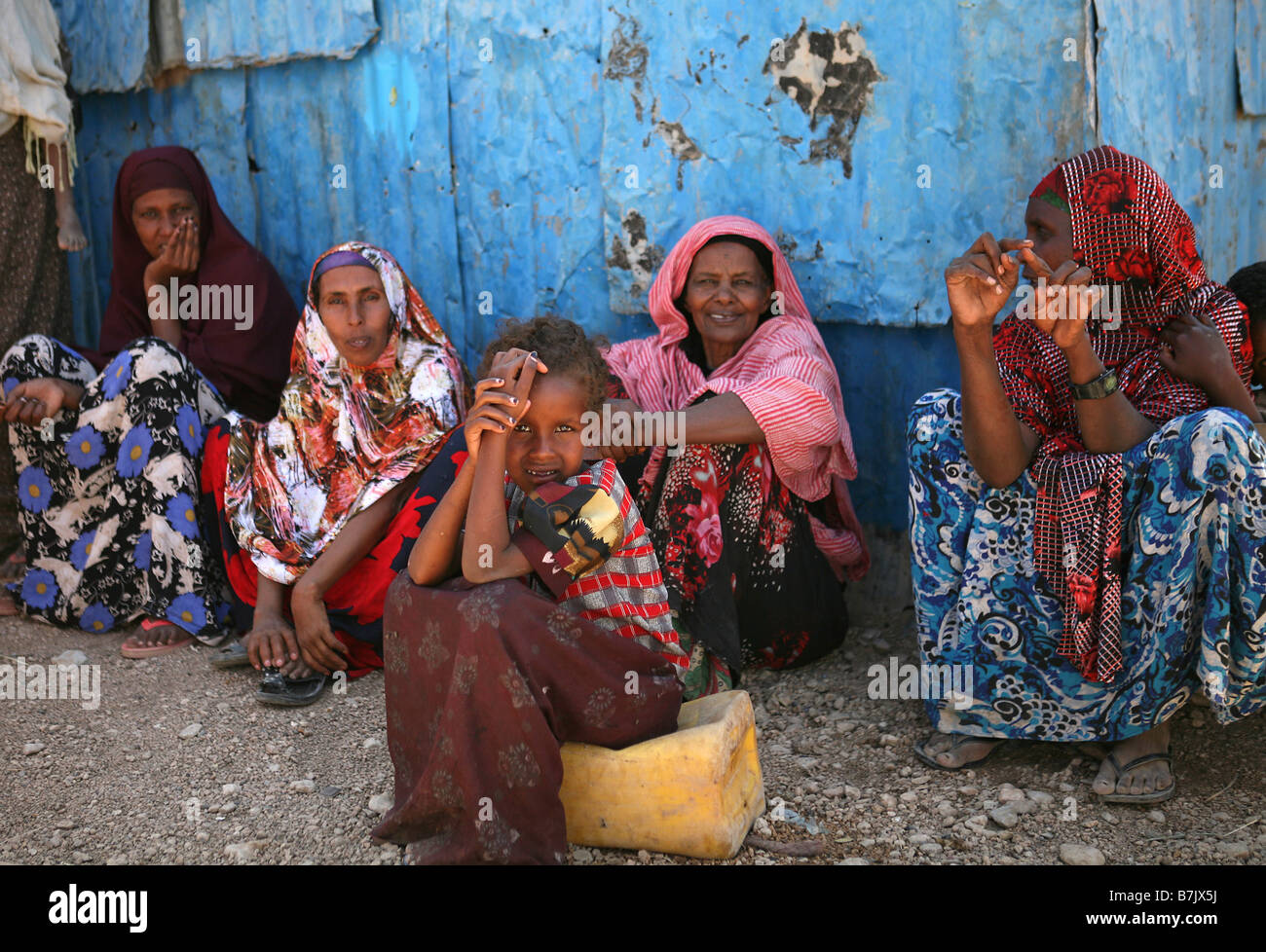 Girl and women at Mohammed Haybe IDP camp Hargeisa Somaliland Stock Photo