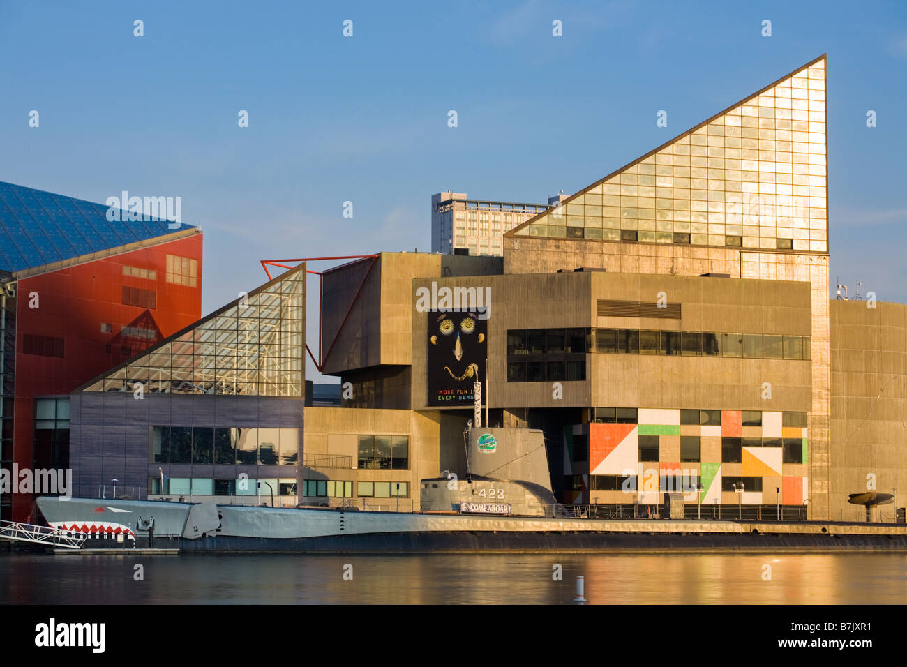 National Aquarium and USS Torsk at Inner Harbor of Baltimore Maryland - Stock Image