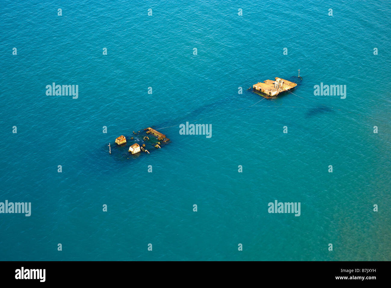 Aerial view of a sunken ship on Black Sea coast of Istanbul Turkey - Stock Image