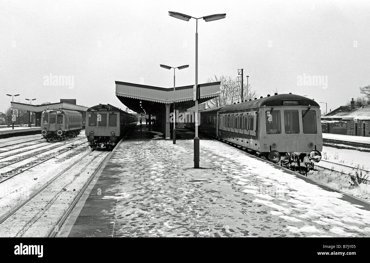 Trains in snow in 1987, UK - Stock Image