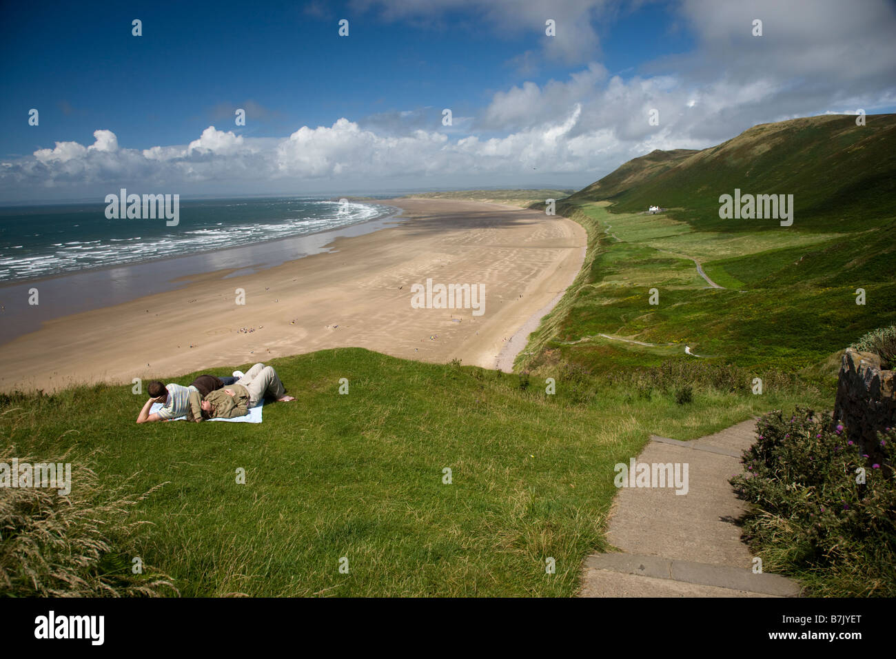 Rhossili Bay in the Gower Wales - Stock Image
