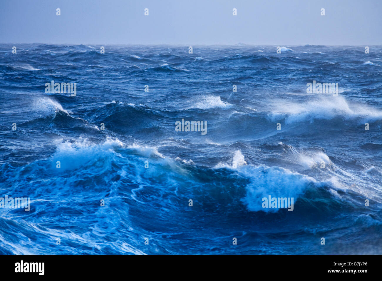 Stormy seas and large wave in gales Southern Ocean Antarctica - Stock Image