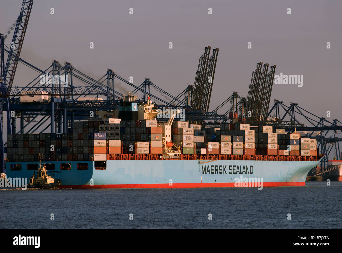 Container Ship leaving the Port of Felixstowe, Suffolk, UK. - Stock Image