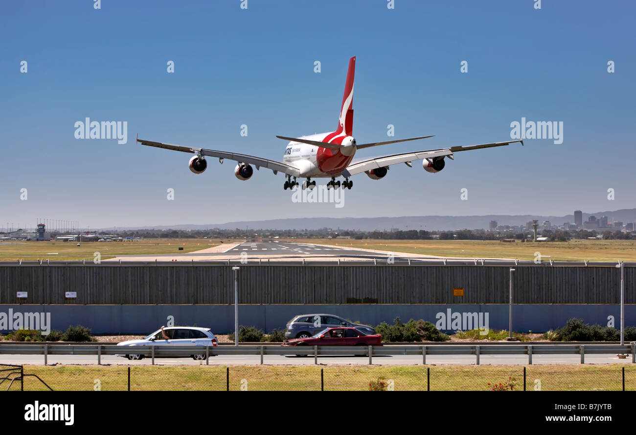 A380 coming into land on final approach. - Stock Image