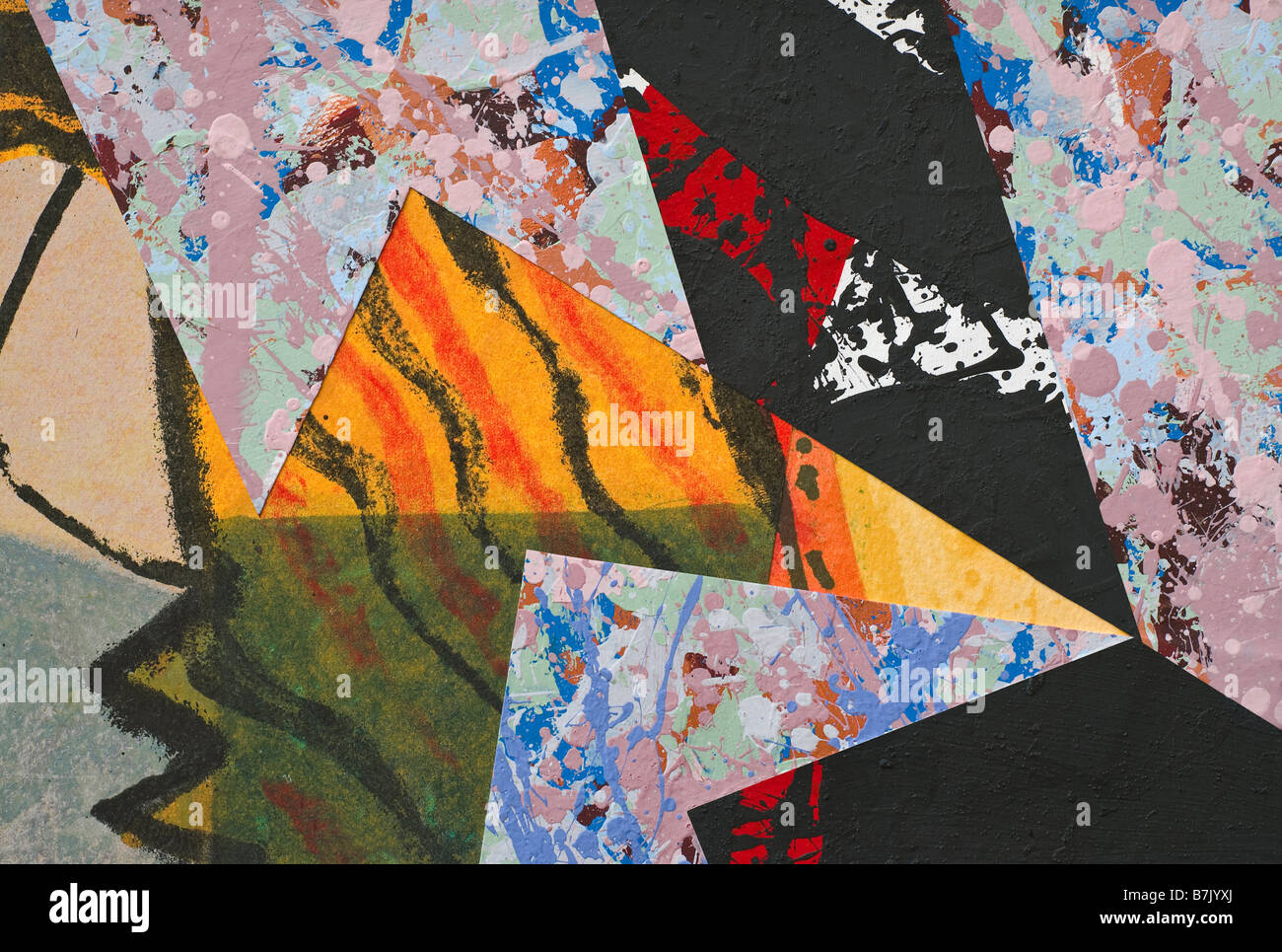 Hand Painted Paper Collage as Design Element - Stock Image