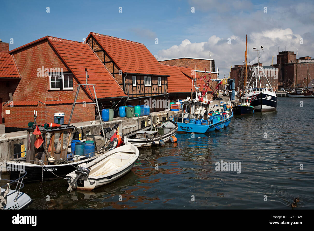 Houses on harbour front Wismar Germany - Stock Image