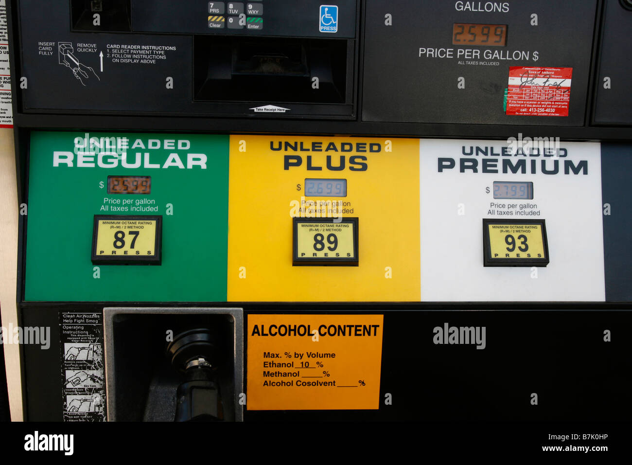closeup of a gas station pump showing octane ratings of unleaded stock photo 21930546 alamy. Black Bedroom Furniture Sets. Home Design Ideas