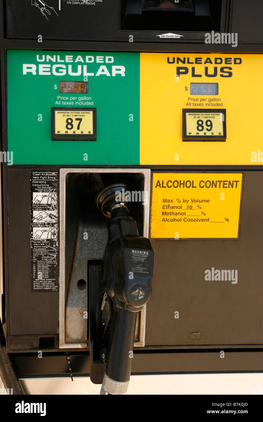 Closeup of a gas station pump showing ratings of unleaded regular and unleaded plus gasoline Stock Photo