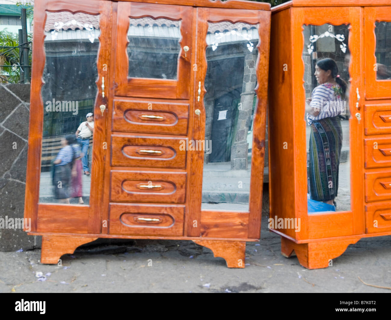 Mirrored dresser on display - Stock Image
