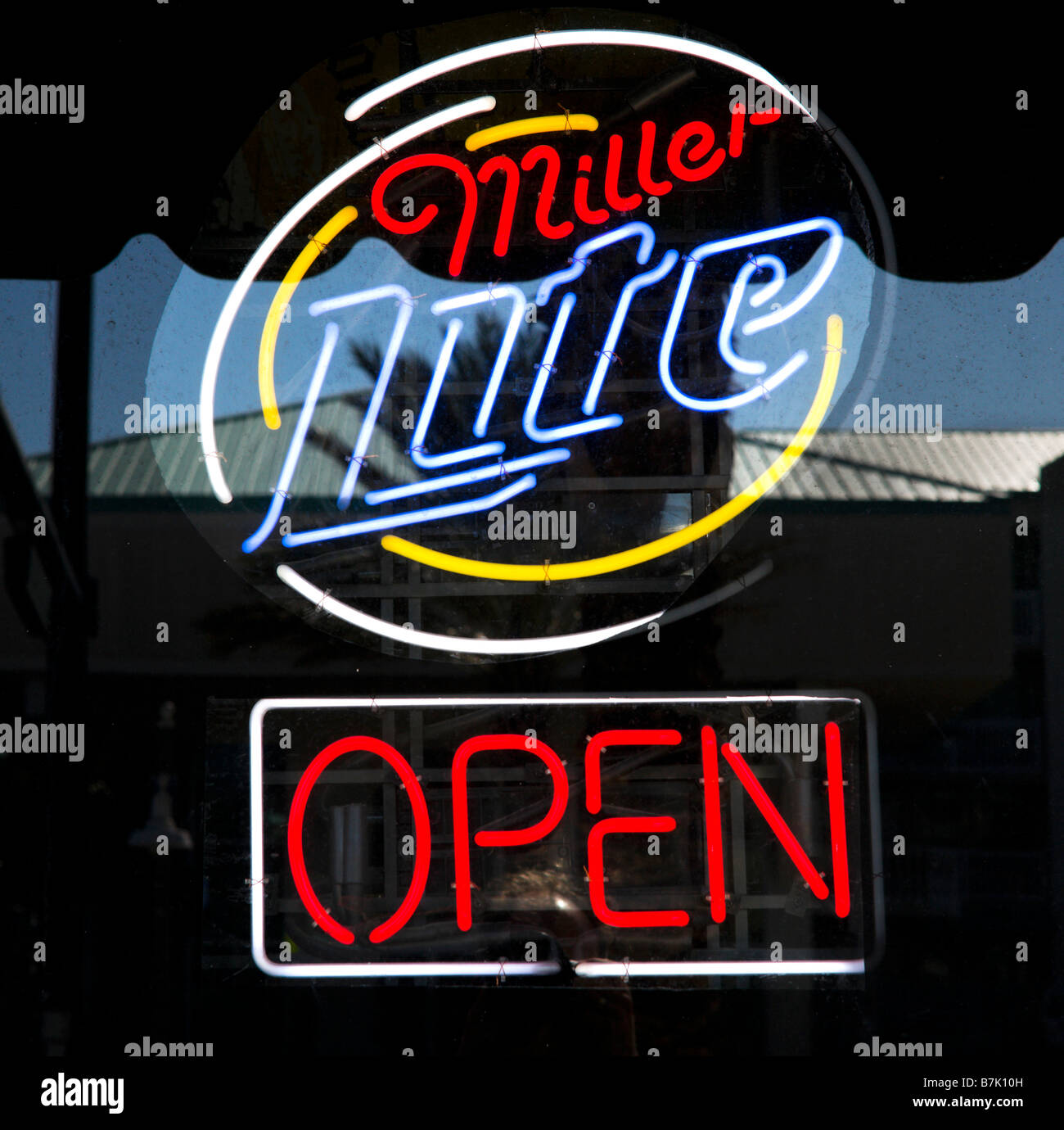 OPEN sign in the window of a bar in Daytona Beach, Florida, USA - Stock Image