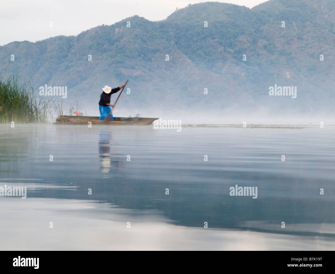 Fisherman on freshwater lake Atitlan - Stock Image