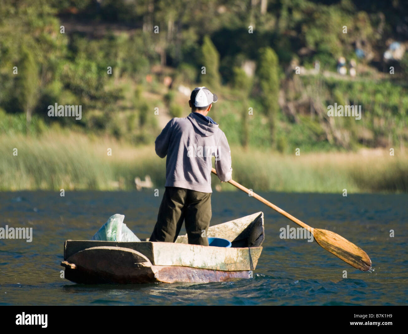 Fishermen on freshwater lake Atitlan - Stock Image
