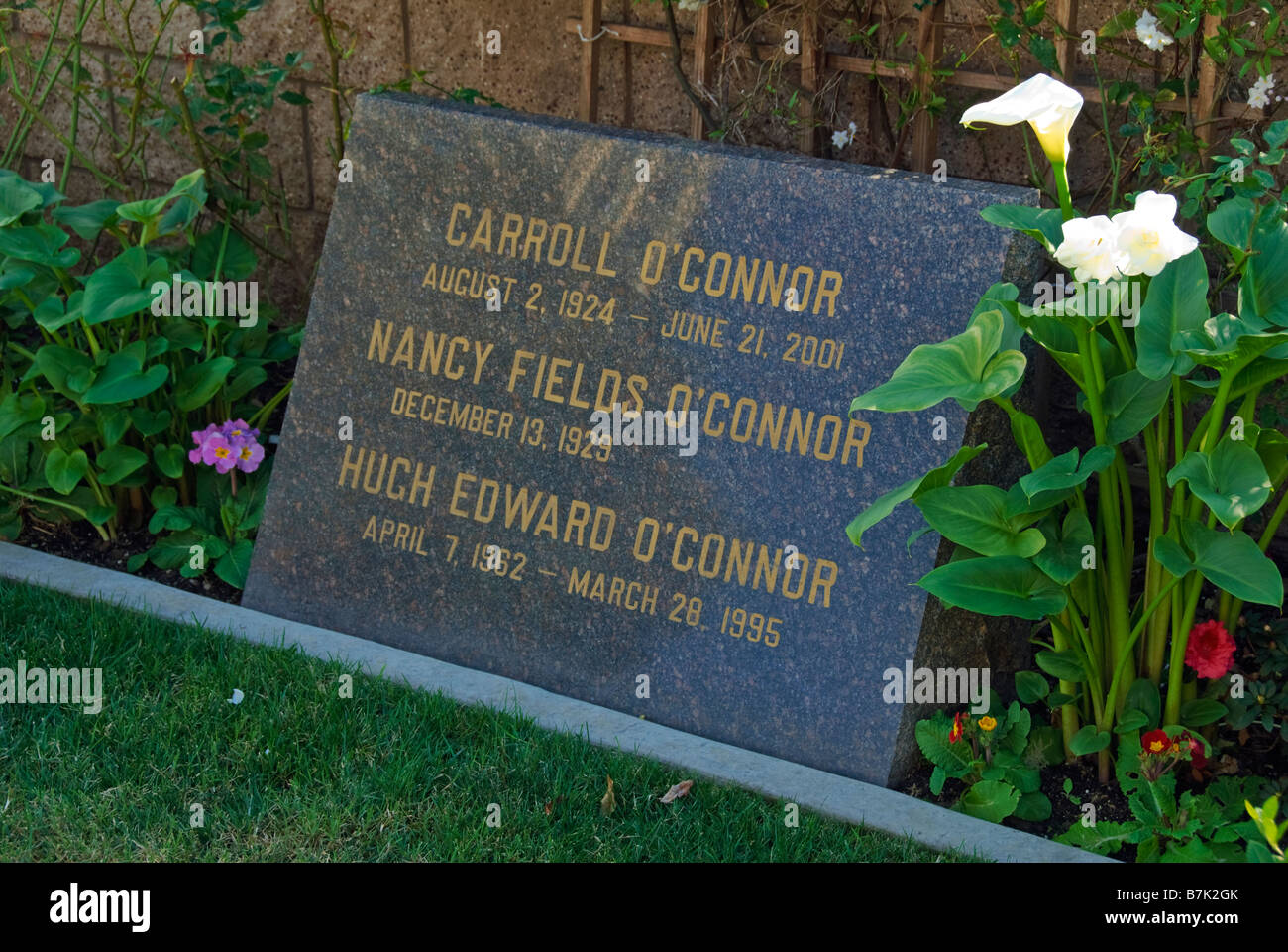Carroll O'Conner Family Grave Hollywood Celebrity Graves Westwood Memorial Park Los Angeles CA cemetery Mortuary Stock Photo