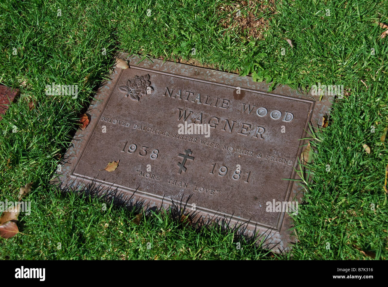 Natalie Wood Actress Hollywood Celebrity Graves Westwood Memorial Park Los Angeles CA cemetery Mortuary final resting - Stock Image