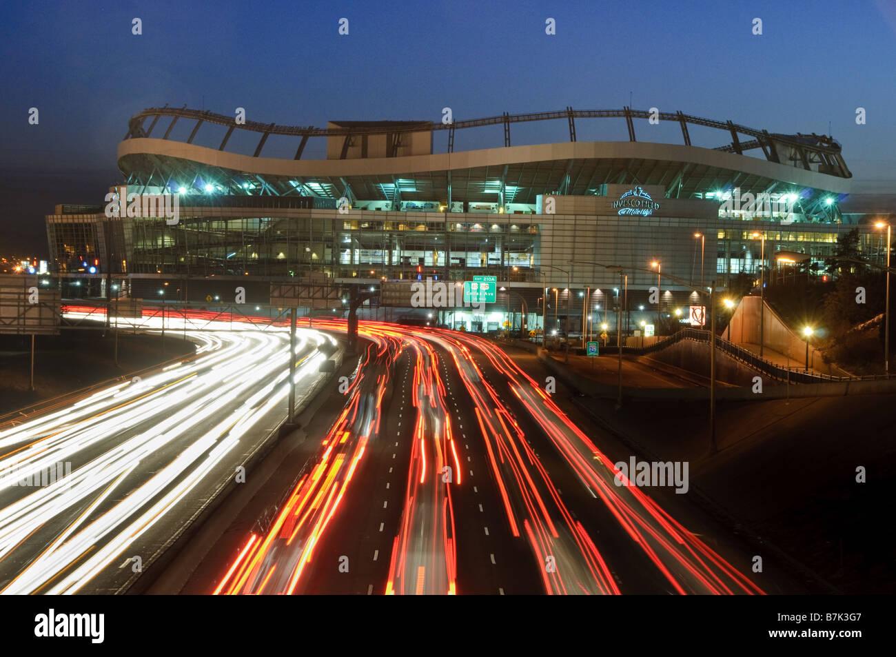 Invesco Stadium and I-25 - Stock Image
