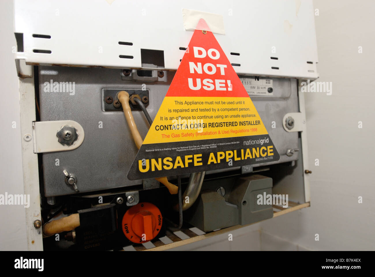Do not use unsafe appliance sign on a domestic boiler UK Stock Photo ...