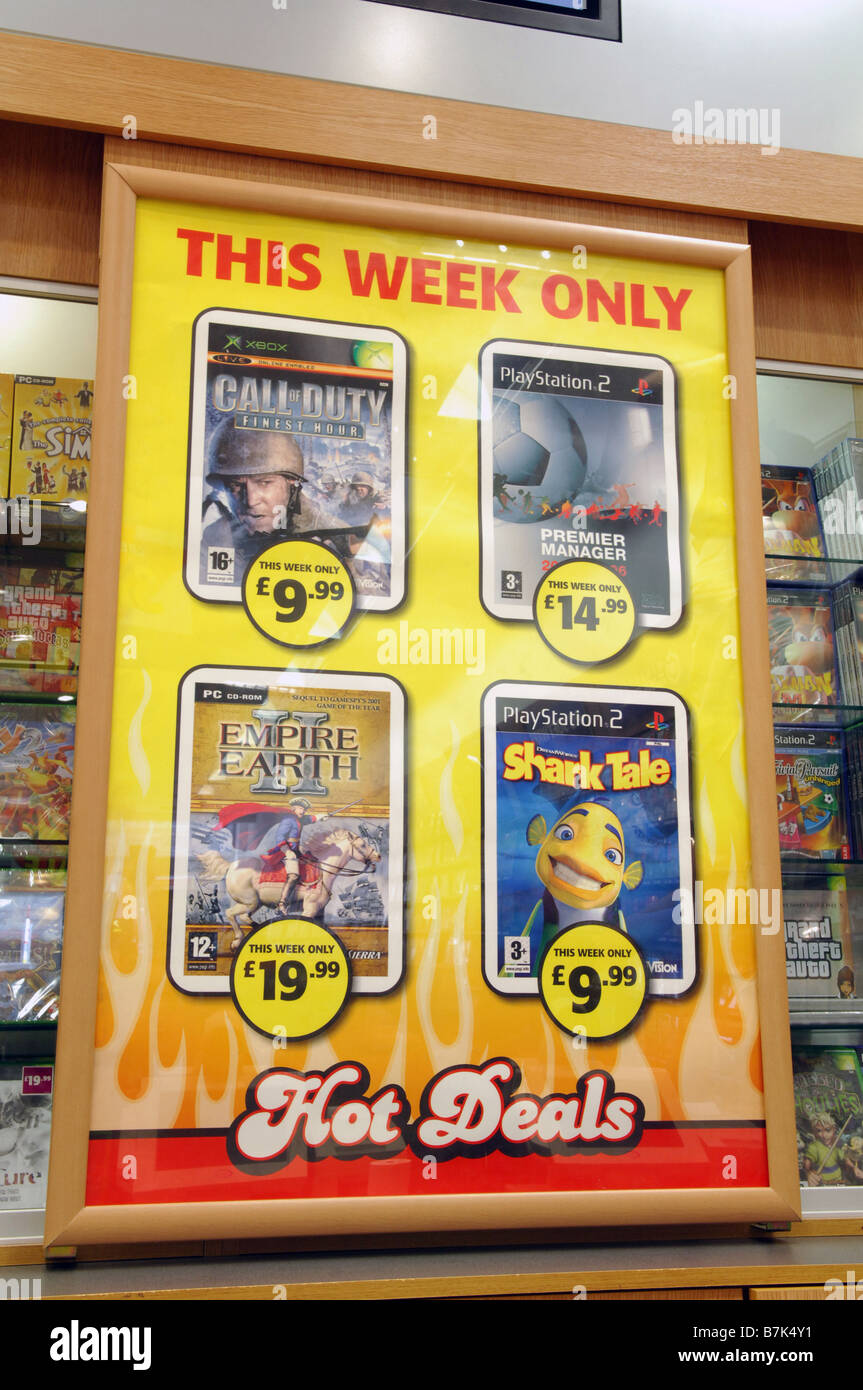 'Hot Deals', an advertising poster for Game on their offer games available for sale during a week. - Stock Image