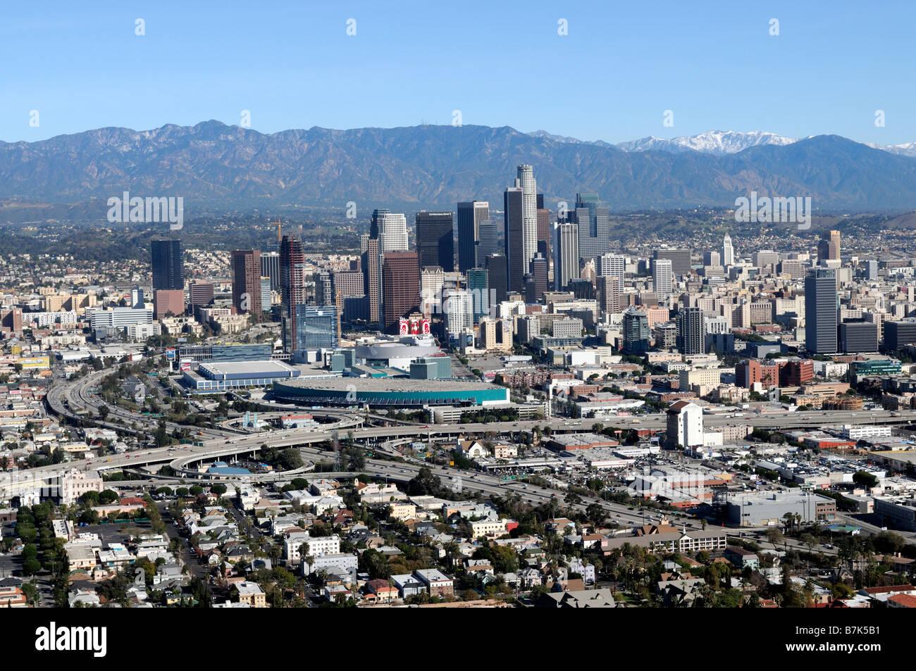 aerial view of los angeles LA urban sprawl skyline skyscrapers - Stock Image