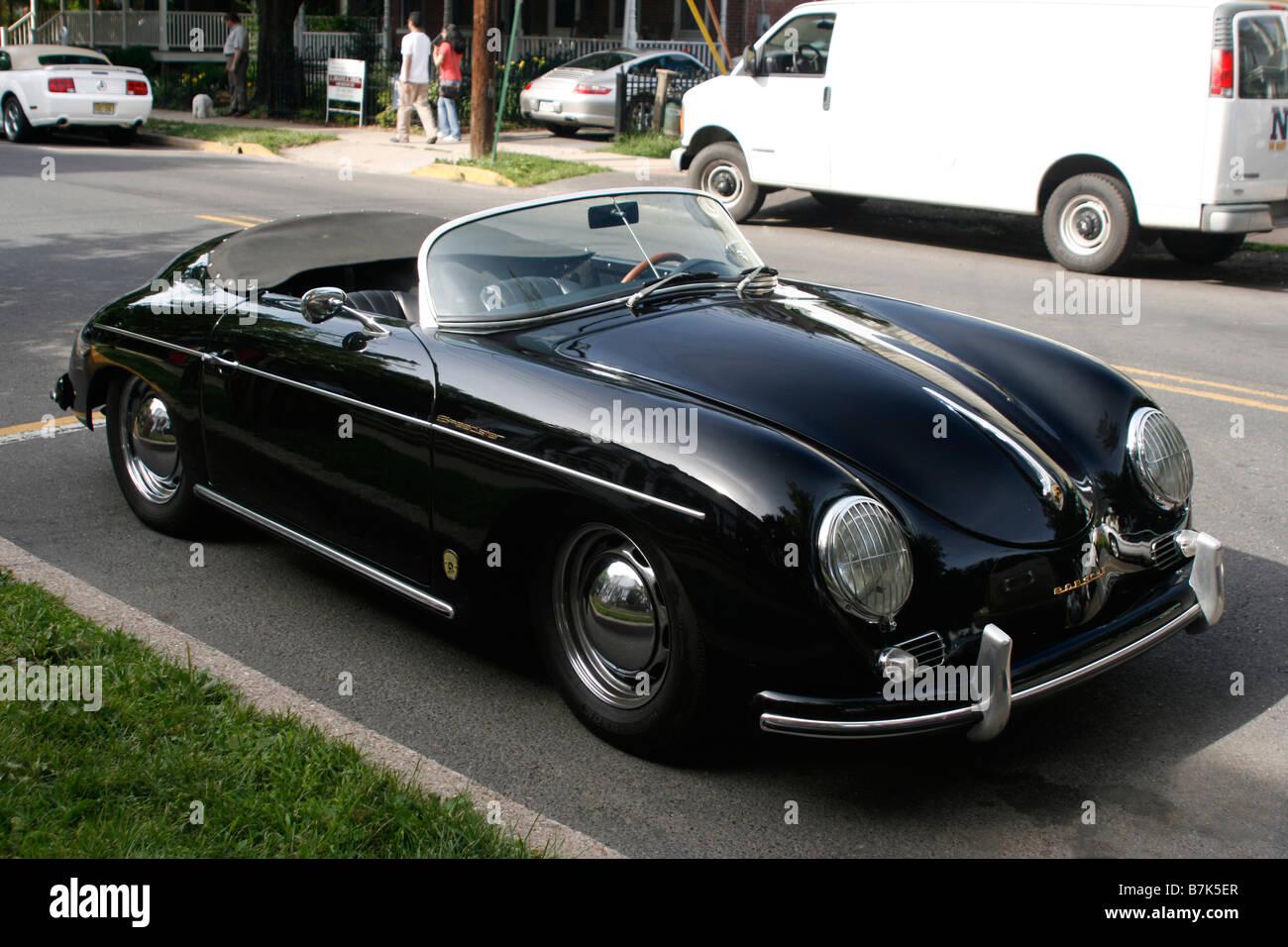 Classic Porsche Speedster Black Convertible Stock Photo Alamy