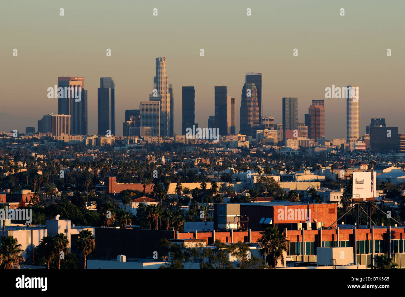 dusk sunset glow downtown los angeles city business district skyline Stock Photo
