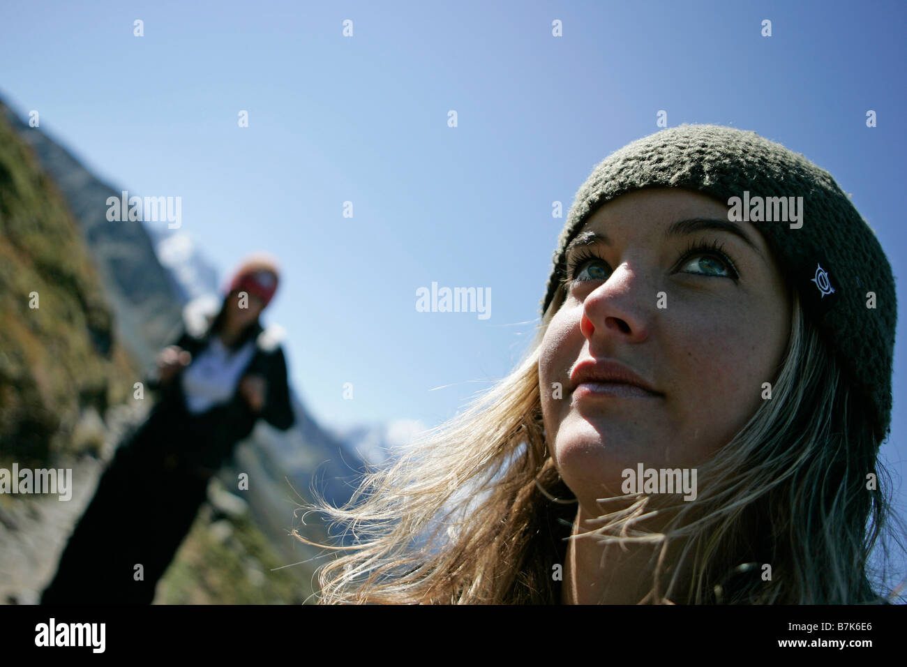 Young girls (19) hiking in front of Mont Blanc, Chamonix, France - Stock Image