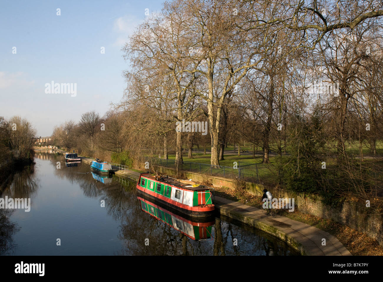 Narrow boats on the Hertford Union Canal by Victoria Park East London GB UK - Stock Image