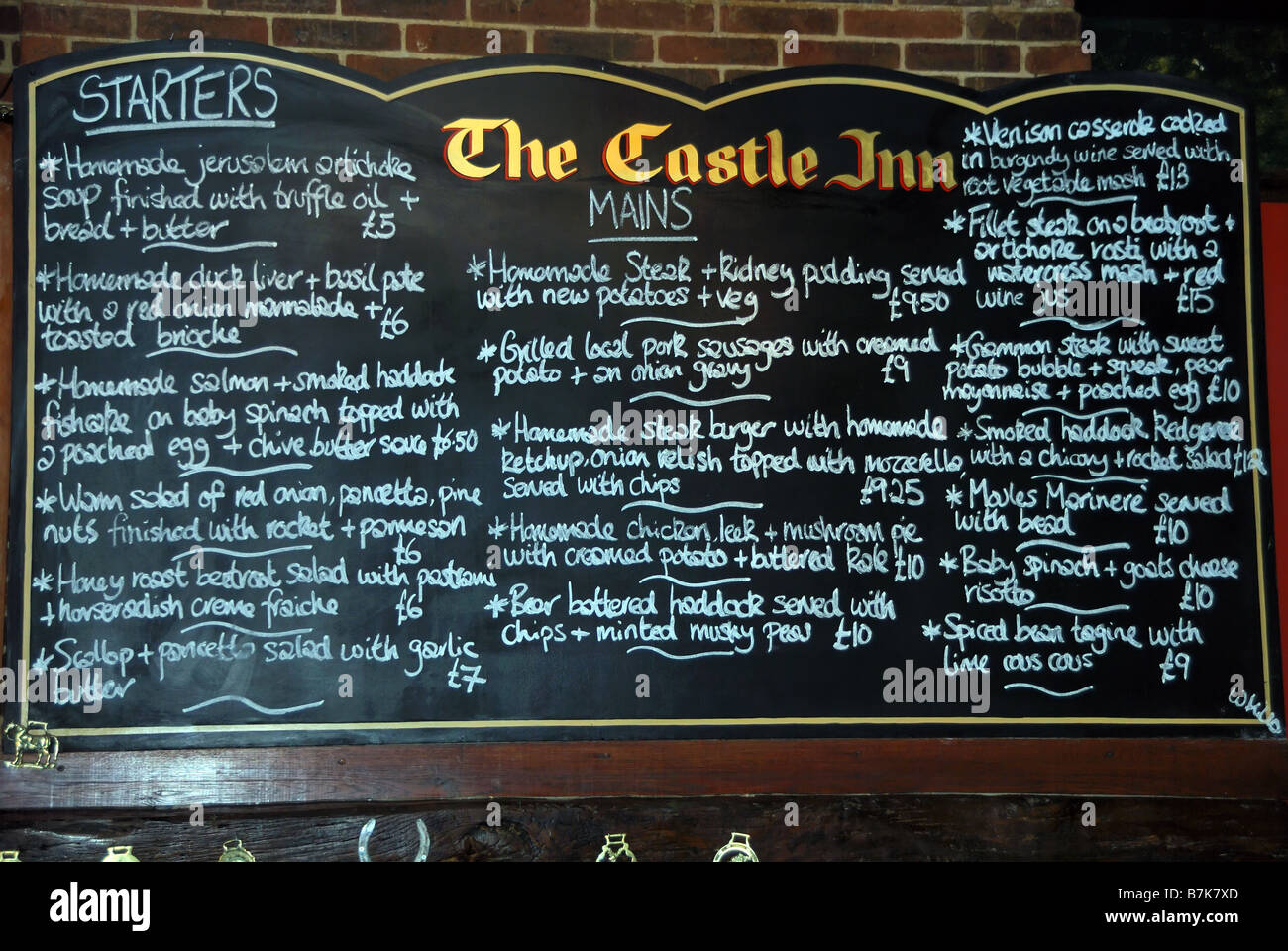 Menu Board in an East Sussex Pub - Stock Image