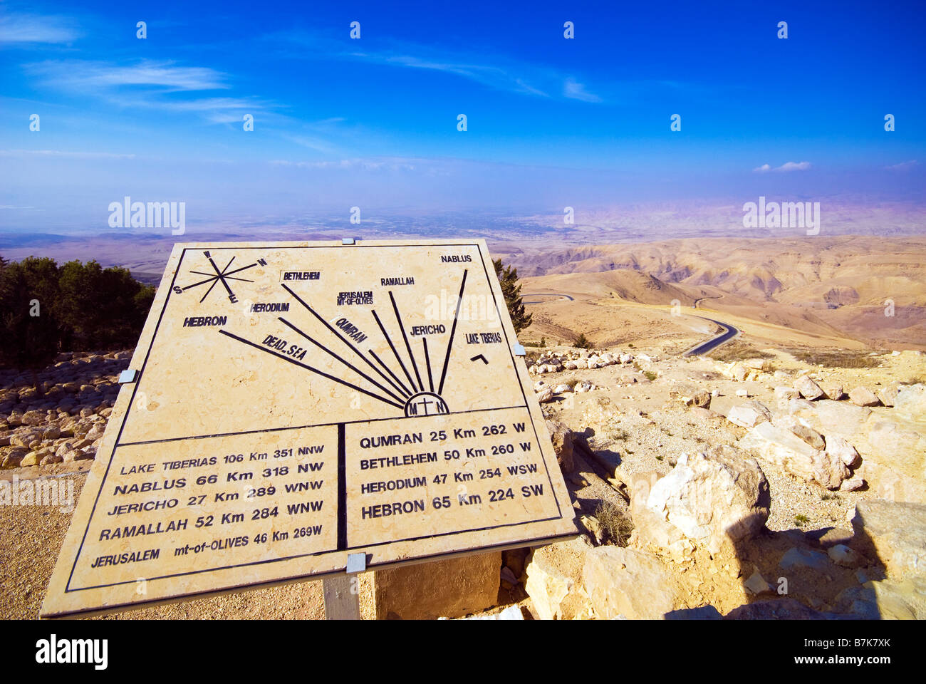 Map of the Middle East at Mount Nebo outside the church of moses Wadi Hisban Jordan Middle East Stock Photo